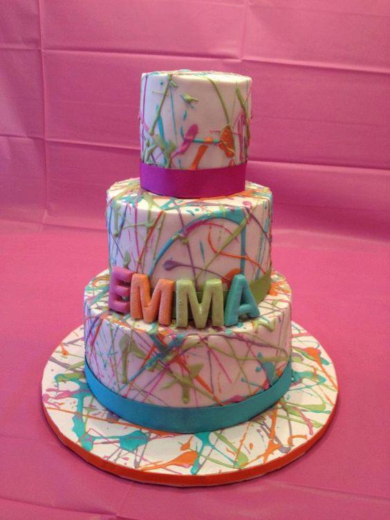 Artsy Birthday Cake  Splatter cake Artsy and Art party on Pinterest