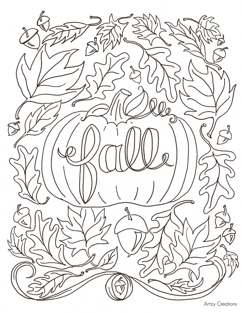 Autumn Coloring Pages For Adults  Free Fall Coloring Page artzycreations