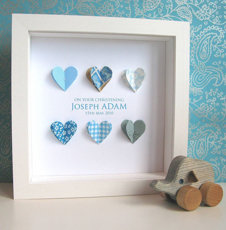 Baby Boy Baptism Gift Ideas  Personalised Christening Paper Hearts Art
