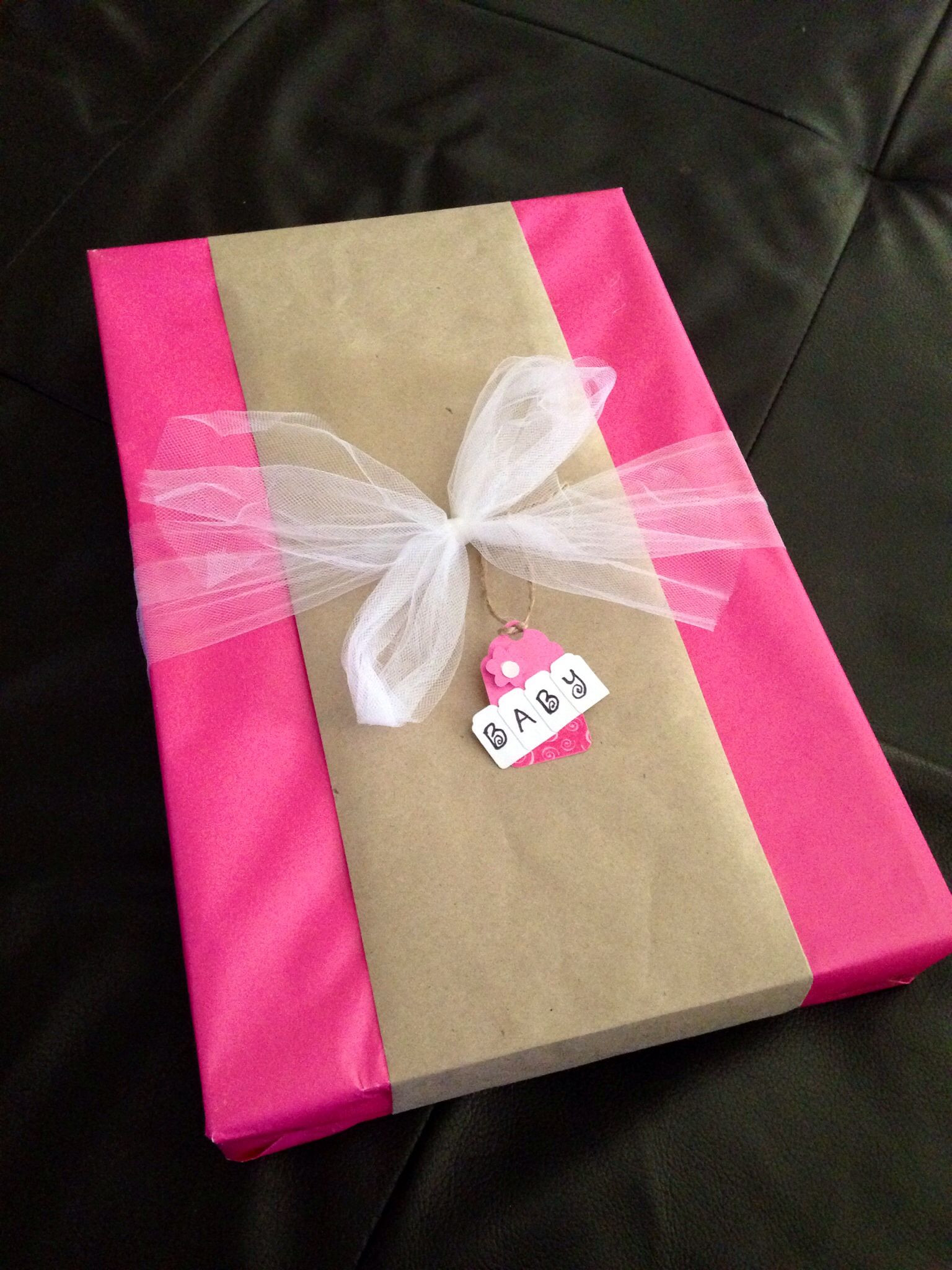 Baby Gift Wrap Ideas  DIY baby shower t wrap idea Solid pink wrapping paper