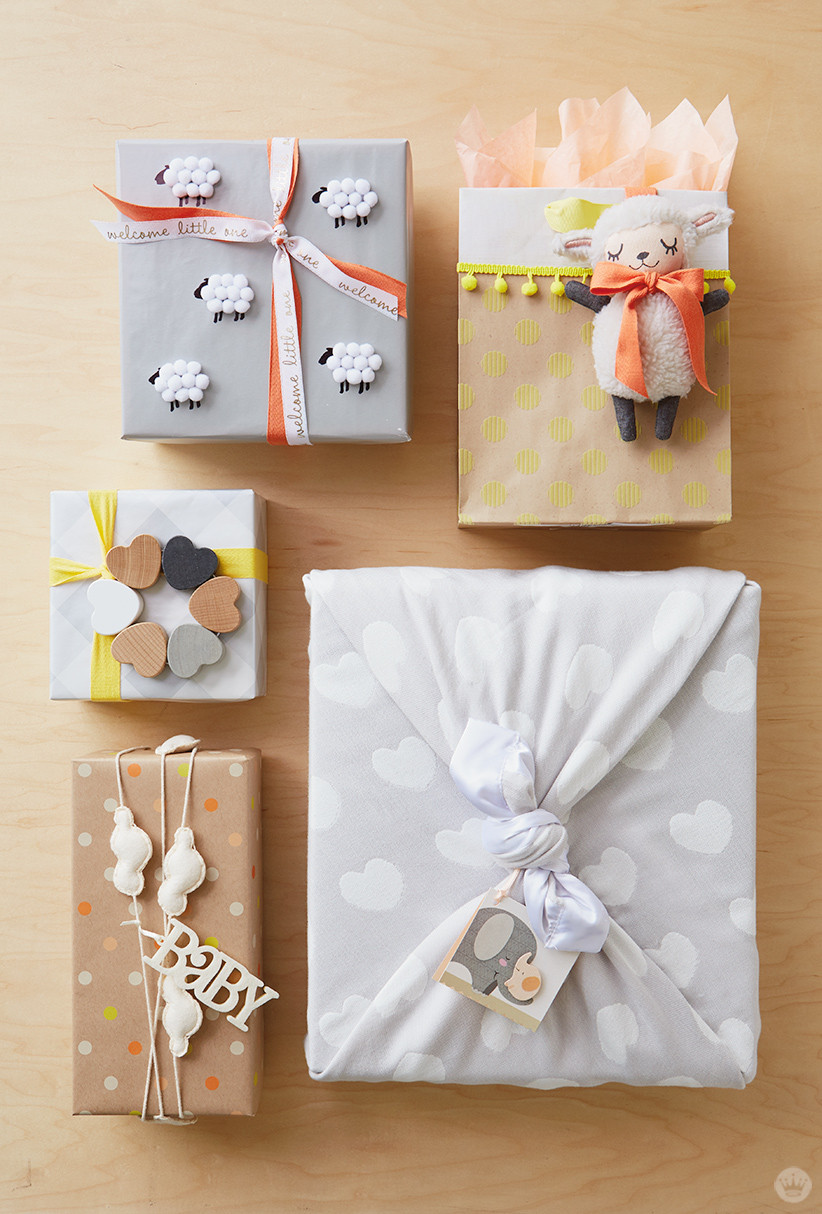 Baby Gift Wrap Ideas  Baby t wrap ideas Showered with love Think Make