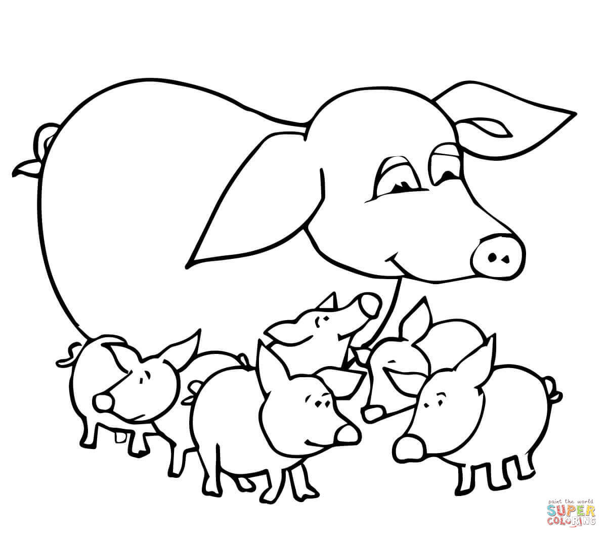 Baby Pig Coloring Pages  Baby Pigs and Mother coloring page