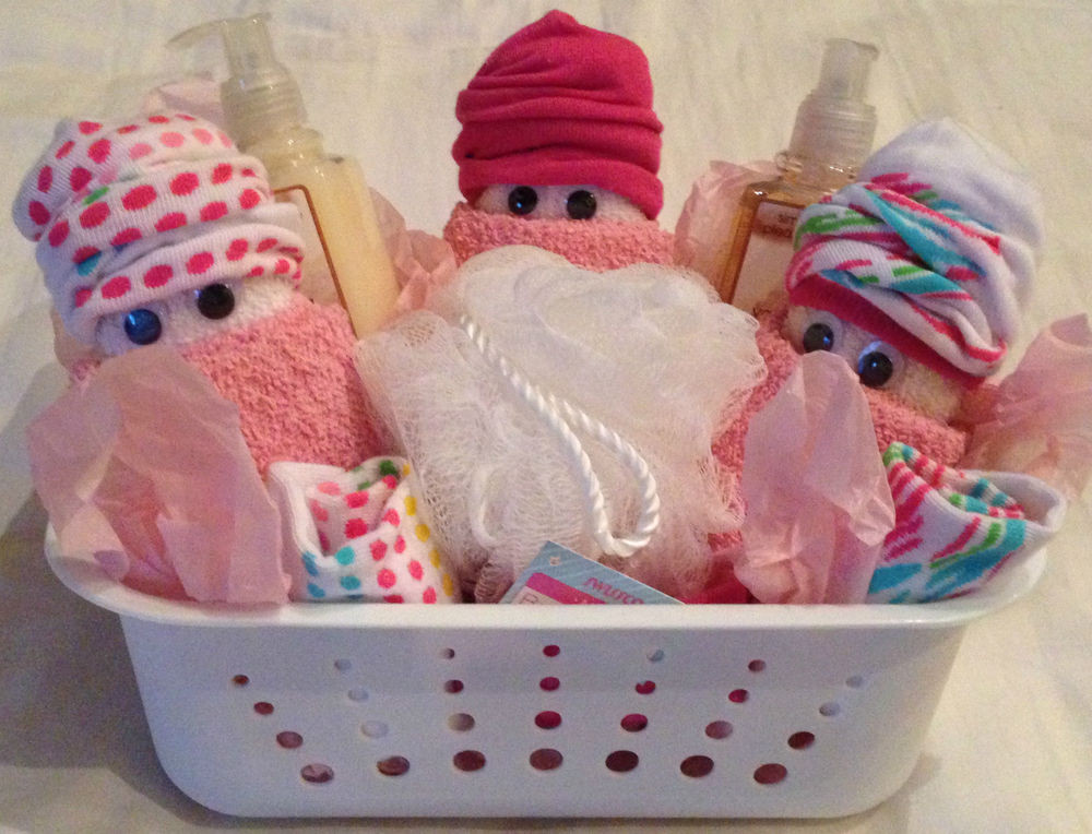 Baby Shower Gift Basket Ideas For Guests  Washcloth Diaper Baby Gift Basket Shower Guest Party Favor