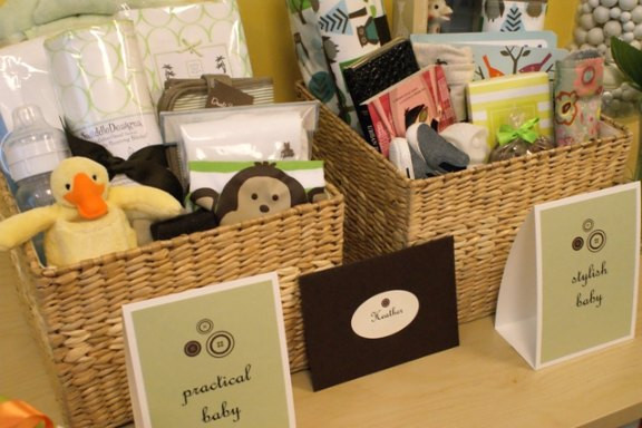 """Baby Shower Gift Basket Ideas For Guests  """"Cute as a button"""" baby shower Paper Source Blog"""