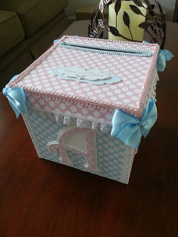 Best ideas about Baby Shower Gift Box Ideas . Save or Pin Pink And Blue Gift Card Box Baby Shower Card Box Baby Now.