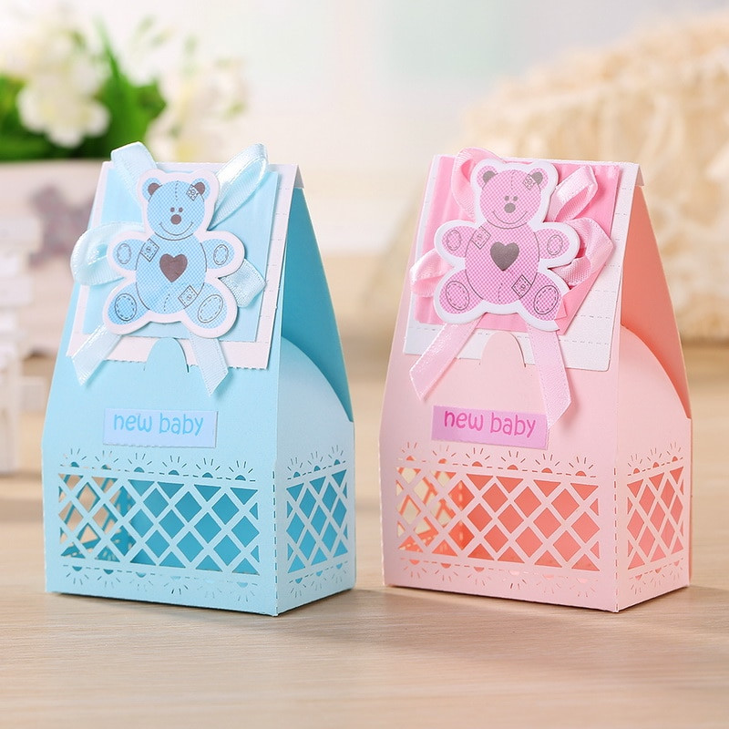 Best ideas about Baby Shower Gift Box Ideas . Save or Pin 12pcs lot Pink and Blue Cute Baby Favors Boxes for Baptism Now.