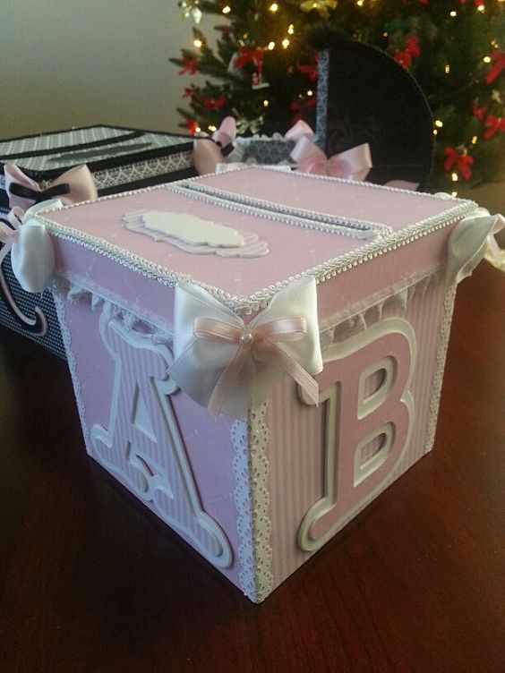 Best ideas about Baby Shower Gift Box Ideas . Save or Pin Pink And White Money Card Box Gift Card Box Baby Now.