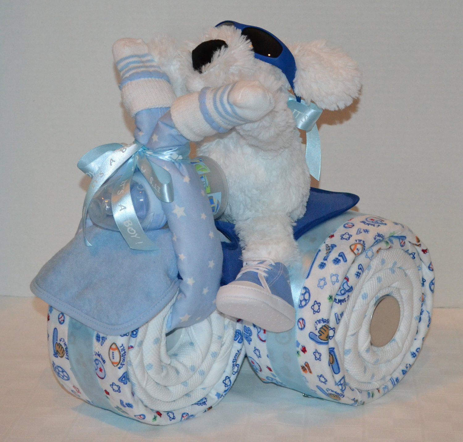 Baby Shower Gift Ideas For A Boy  Tricycle Trike Diaper Cake Baby Shower Gift Sports theme