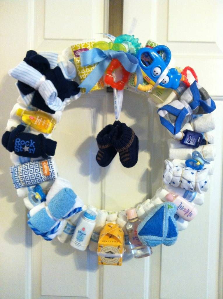Baby Shower Gift Ideas For A Boy  Baby Boy Diaper Wreath About Time I See A Cute Baby Boy