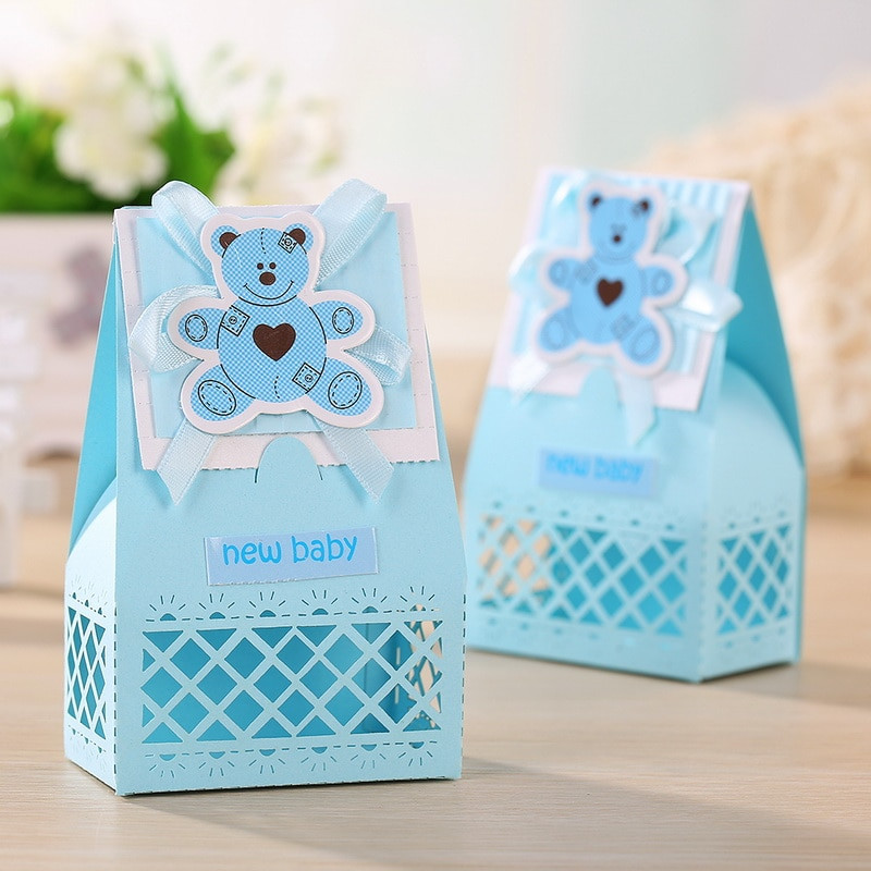 Best ideas about Baby Shower Guest Gift Ideas . Save or Pin Pink and Blue Cute Baby Favors Boxes Baptism Bombonieres Now.