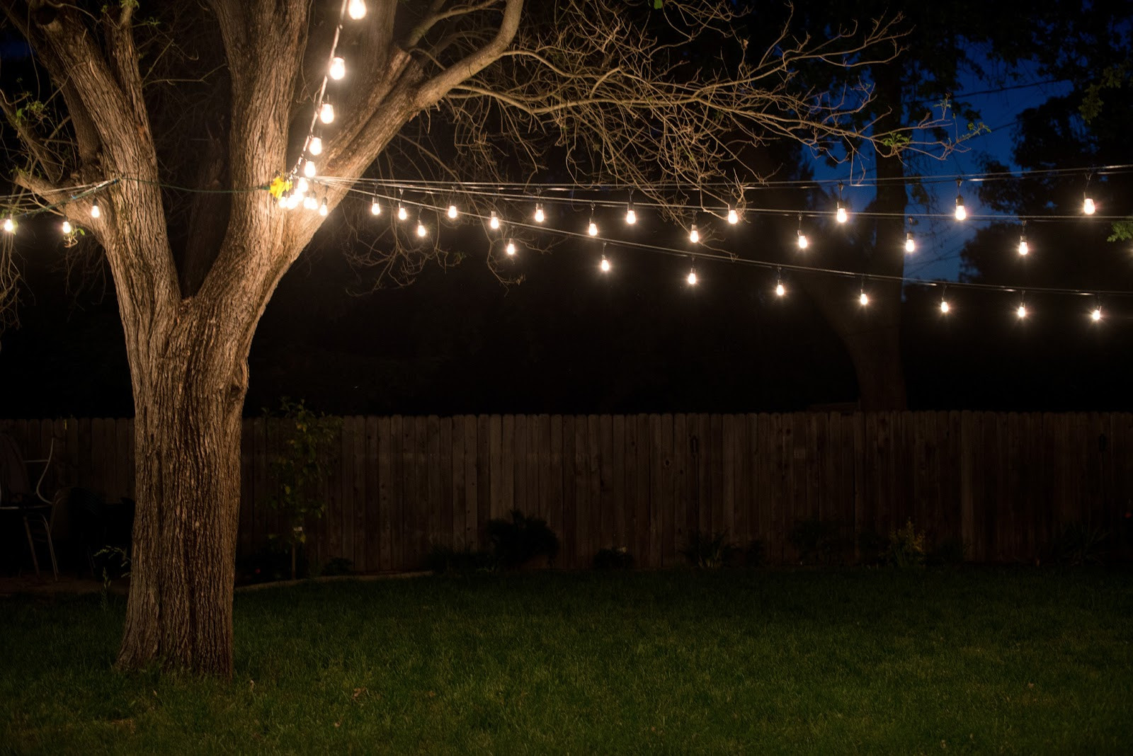 Best ideas about Backyard String Lights . Save or Pin Domestic Fashionista Industrial Vintage Backyard Lighting Now.