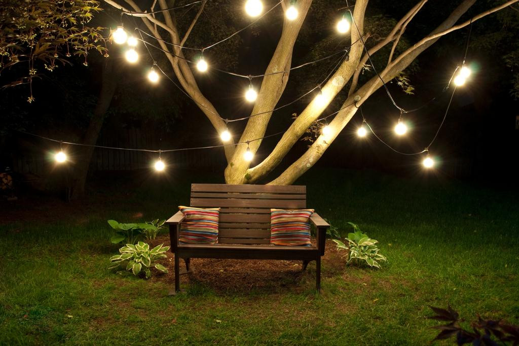 Best ideas about Backyard String Lights . Save or Pin Outdoor String 15 Light Clear Incandescent Bulb 48 Black Now.