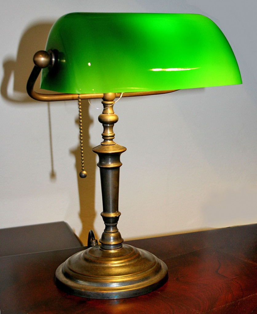 Best ideas about Bankers Desk Lamp . Save or Pin Bankers Desk Lamp Green Glass Shade within antique desk Now.