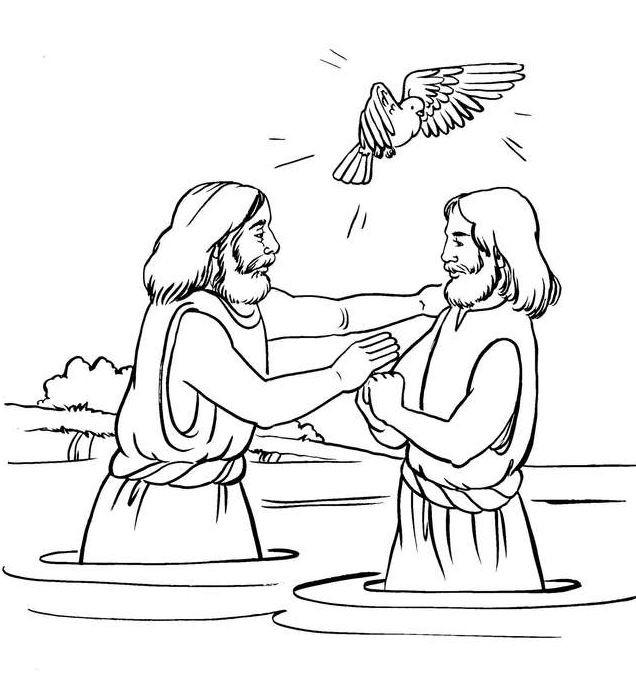 Baptism Coloring Pages For Kids  Jesus baptism Coloring Bible NT Gospels