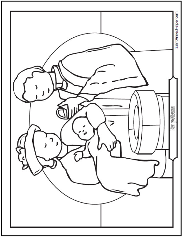 Baptism Coloring Pages For Kids  Baptism Coloring Sheet Baby At The Font