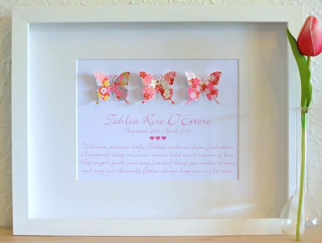 Baptism Gift Ideas For Baby Girl  Gorgeous Baby Girls Unique Paper Butterfly Theme