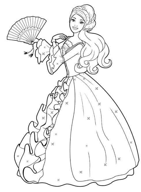 Barbie Doll Coloring Pages  Disney Cartoon Barbie Doll Princess Coloring Pages