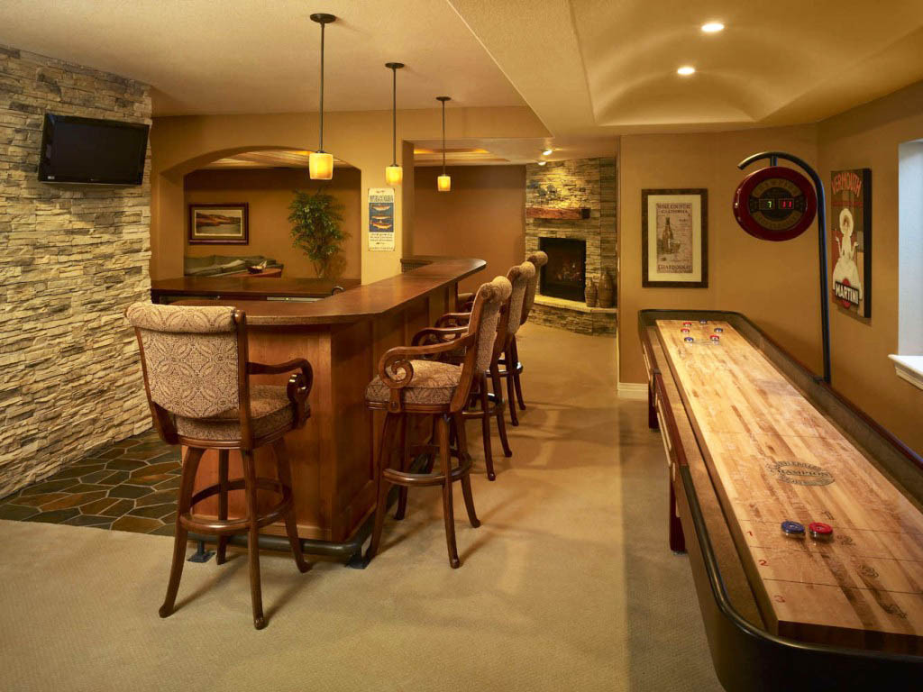 Best ideas about Basement Ideas With Bar . Save or Pin Yellow Accents Wall Painted Enchanting Home Basement Now.