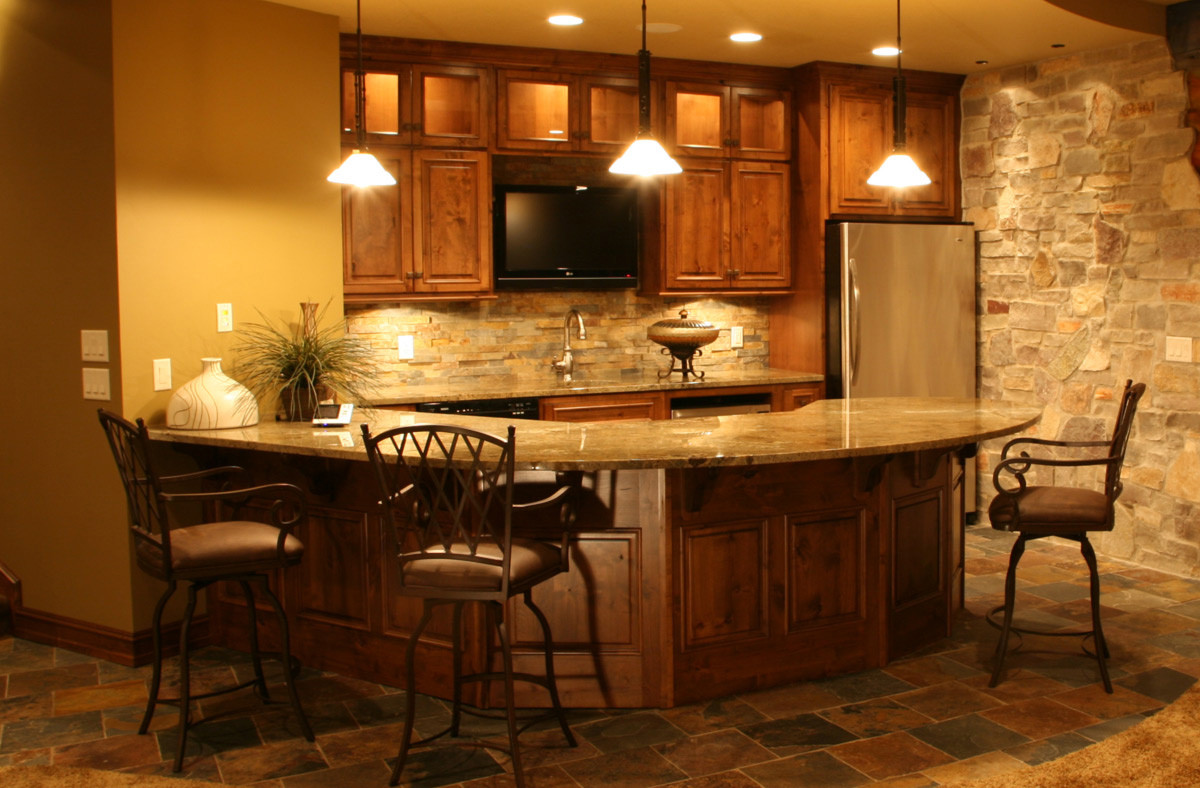 Best ideas about Basement Ideas With Bar . Save or Pin Warm Interior Nuanced Home Basement Bar Ideas pleted Now.