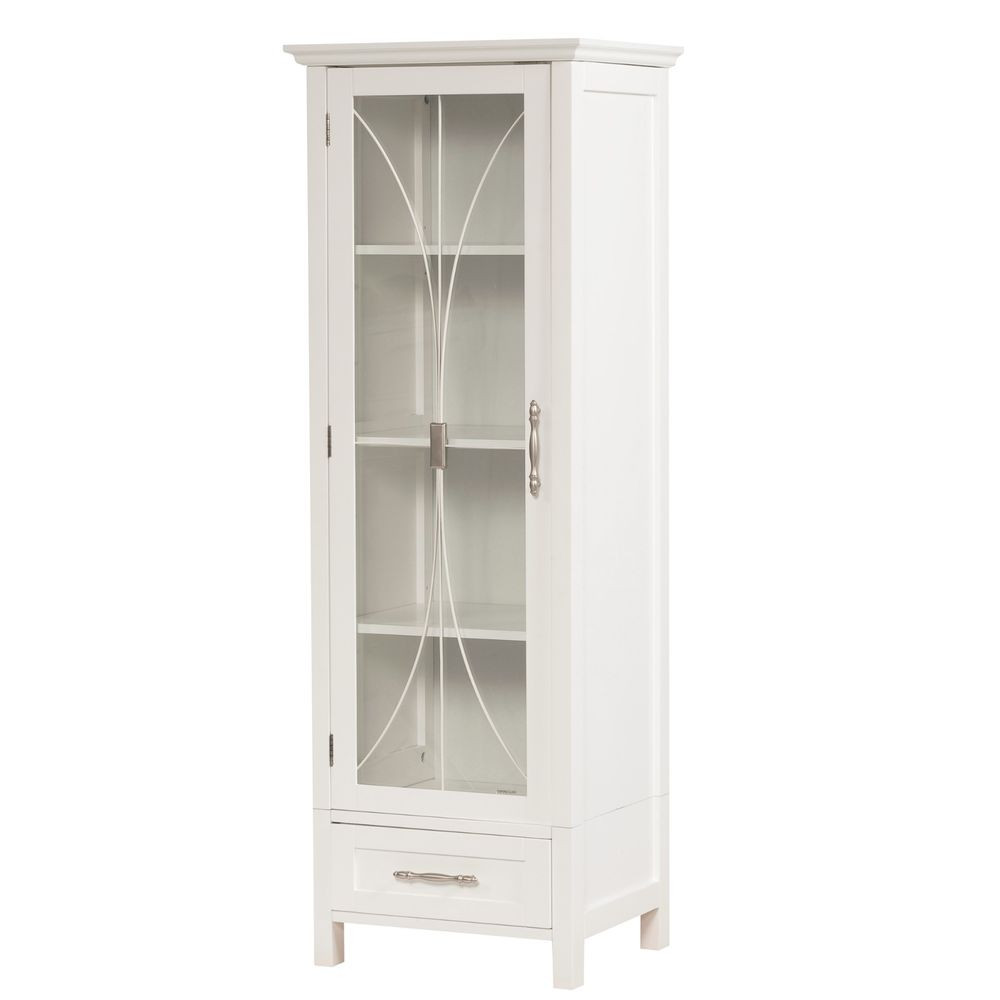 Best ideas about Bathroom Linen Tower . Save or Pin White Bathroom Linen Tower Cabinet with Tempered Glass and Now.