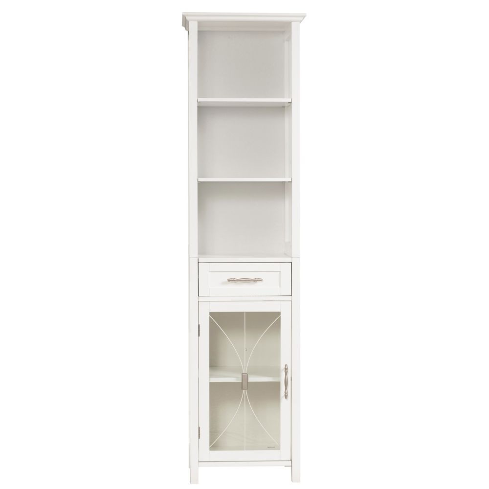 Best ideas about Bathroom Linen Tower . Save or Pin White Bathroom Linen Tower Storage Cabinet with Tempered Now.