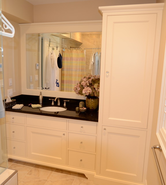 Best ideas about Bathroom Linen Tower . Save or Pin Maple vanity with linen tower Now.