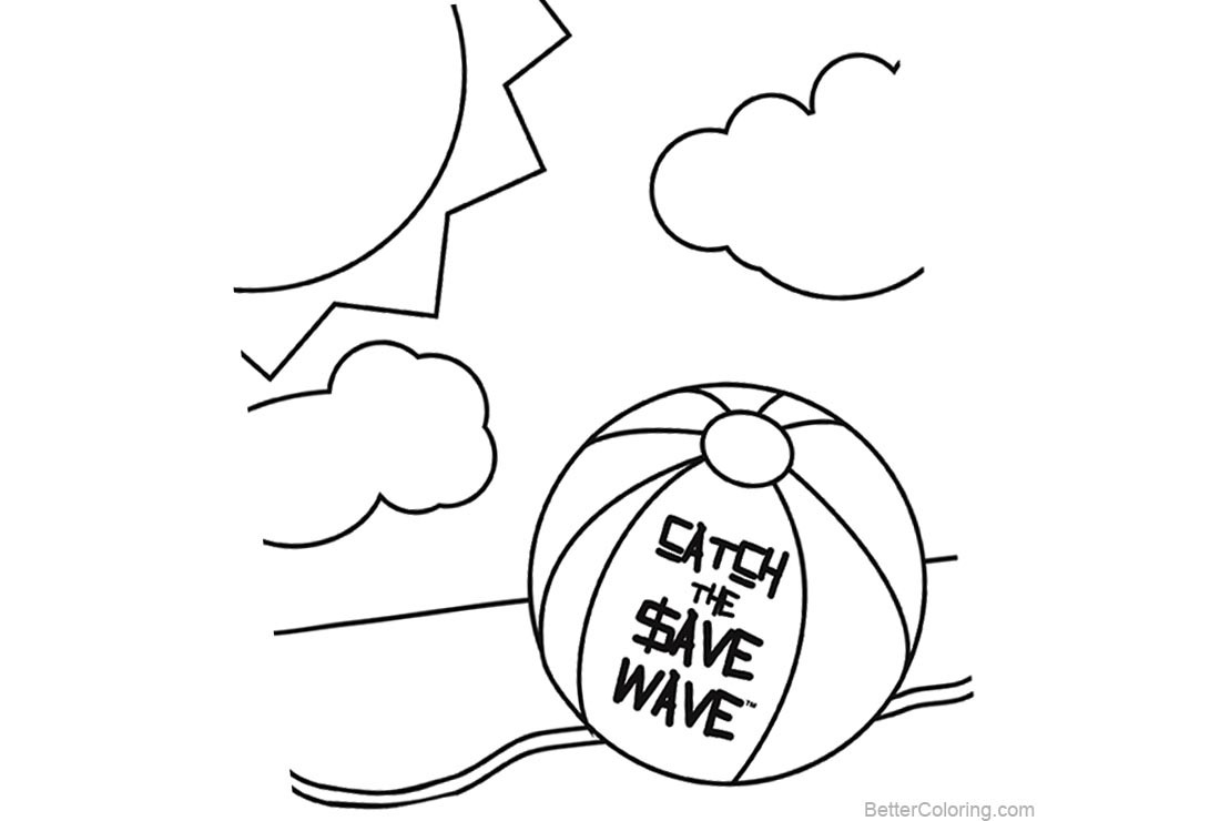 Beach Ball Coloring Pages For Kids Printable  Beach Ball Coloring Pages Summer Line Drawing Free
