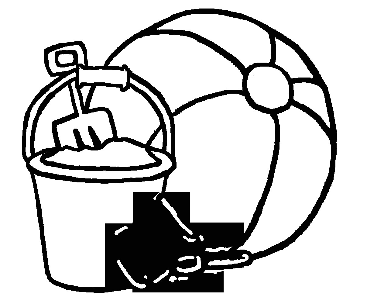 Beach Ball Coloring Pages For Kids Printable  Beach Toys Clipart