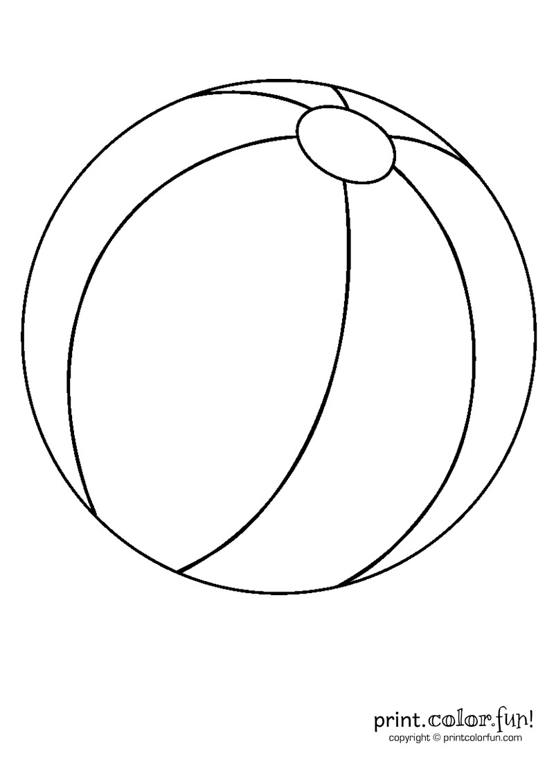 Beach Ball Coloring Pages For Kids Printable  Beach ball coloring page Print Color Fun