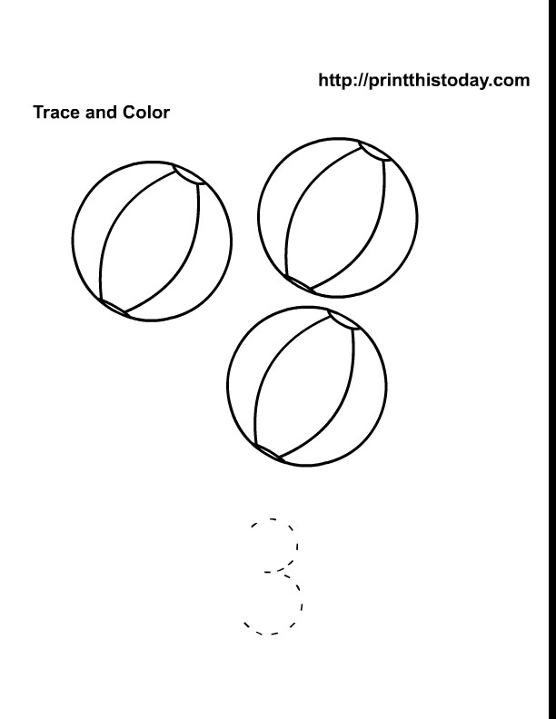 Beach Ball Coloring Pages For Kids Printable  Free printable Summer Maths worksheets for preschool