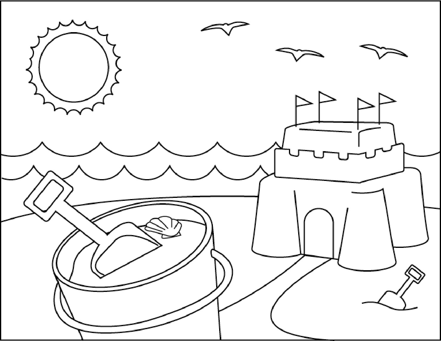 Beach Coloring Pages For Kids  Beach Coloring Pages coloringsuite