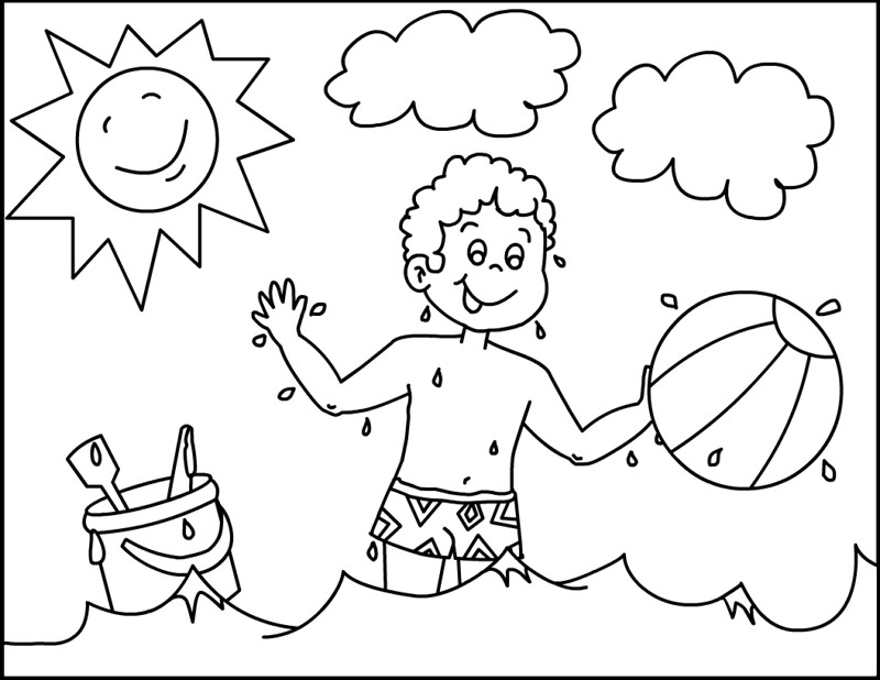 Beach Coloring Pages For Kids  Summer Beach Coloring Pages Coloring Home