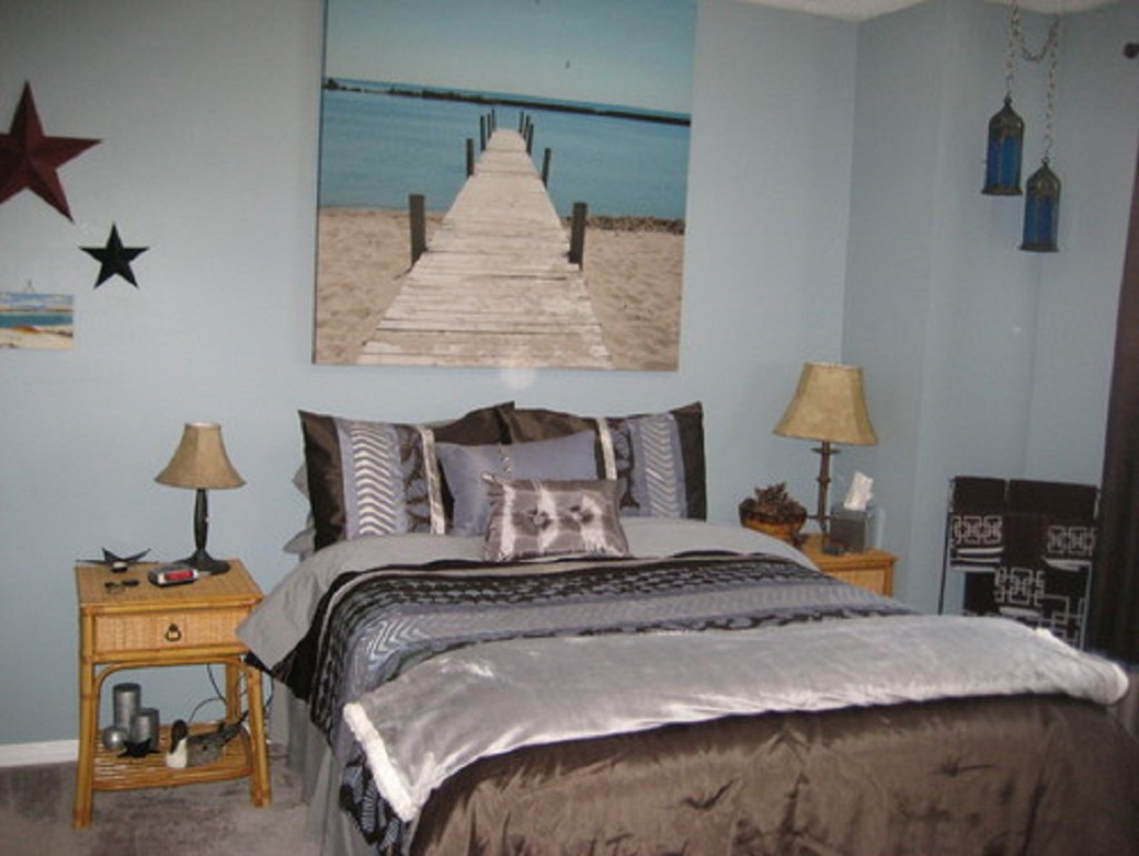 Best ideas about Beach Themed Bedroom . Save or Pin Bedroom Floating Shelves And Beachy Wall Painting Feat Now.