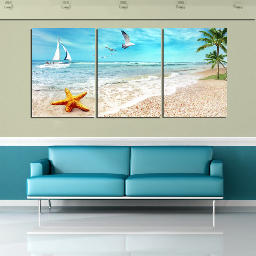 Best ideas about Beach Wall Art . Save or Pin 3 Panel Beach Canvas Seascapes Palm Tree Paintings 3 Now.