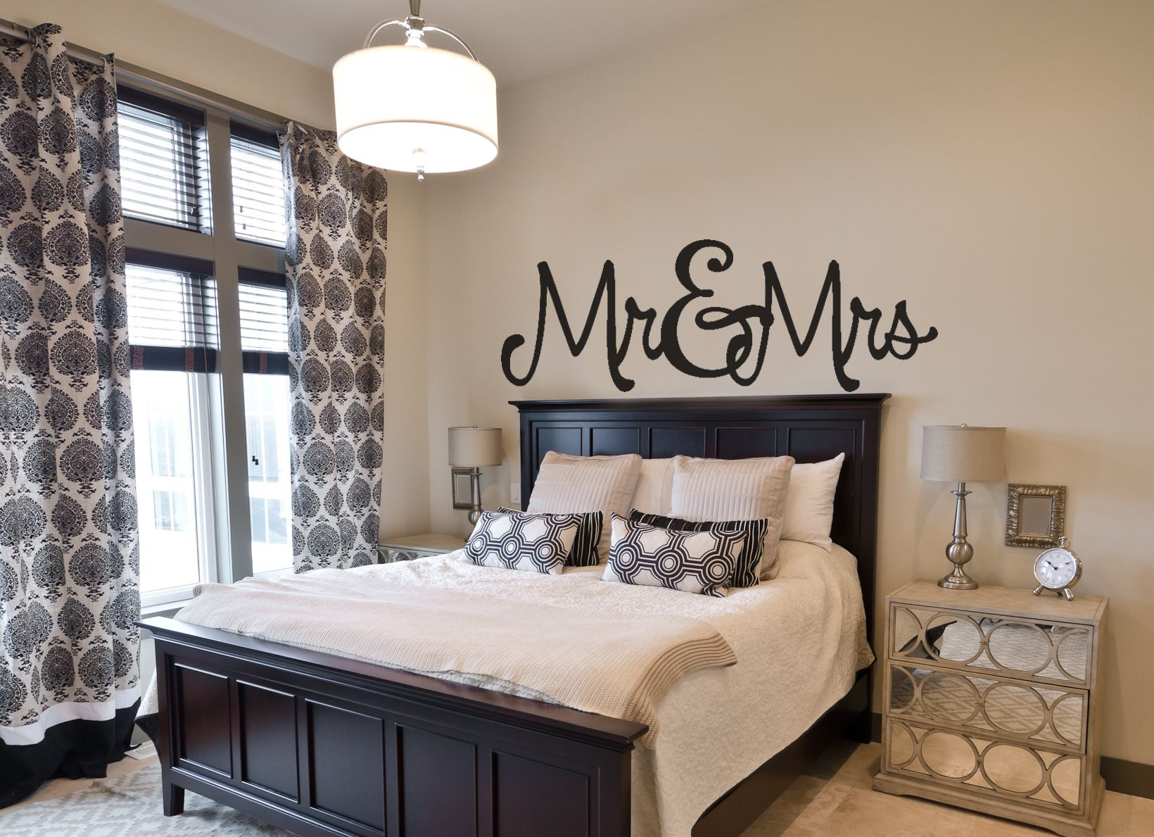 Best ideas about Bedroom Wall Decor . Save or Pin Bedroom Wall Decal Mr & Mrs Now.