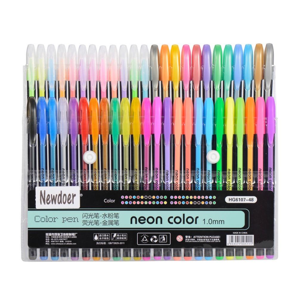 Best Gel Pens For Adult Coloring Books  Newdoer 48 Packs Color Gel Ink Pens The Best Gel Pens Set