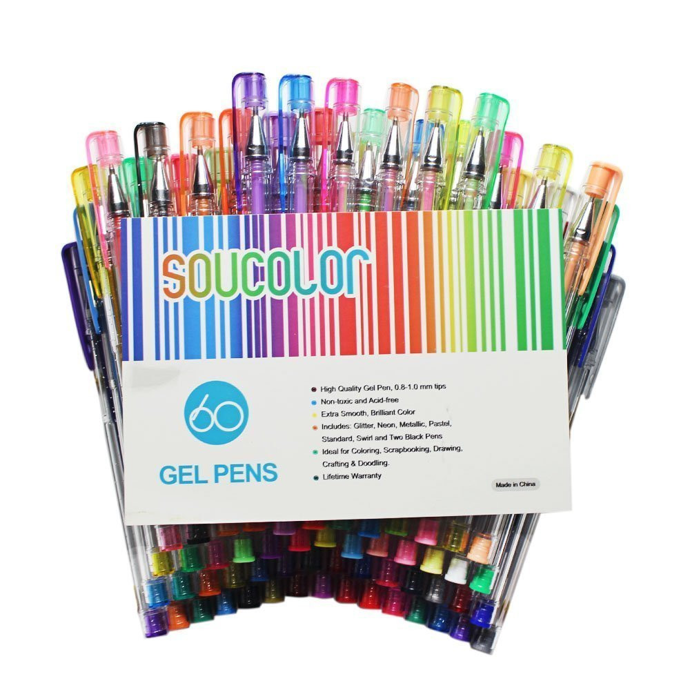 Best Gel Pens For Adult Coloring Books  Soucolor Gel Pens for Adult Coloring Books Set of 60