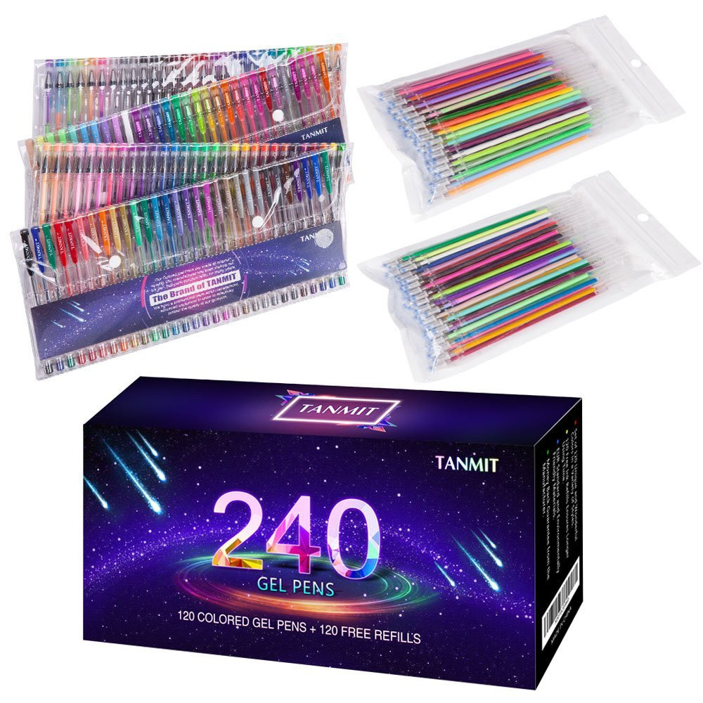 Best Markers For Adult Coloring Books  Tanmit 240 Color Gel Pens Set for Adult Coloring Books