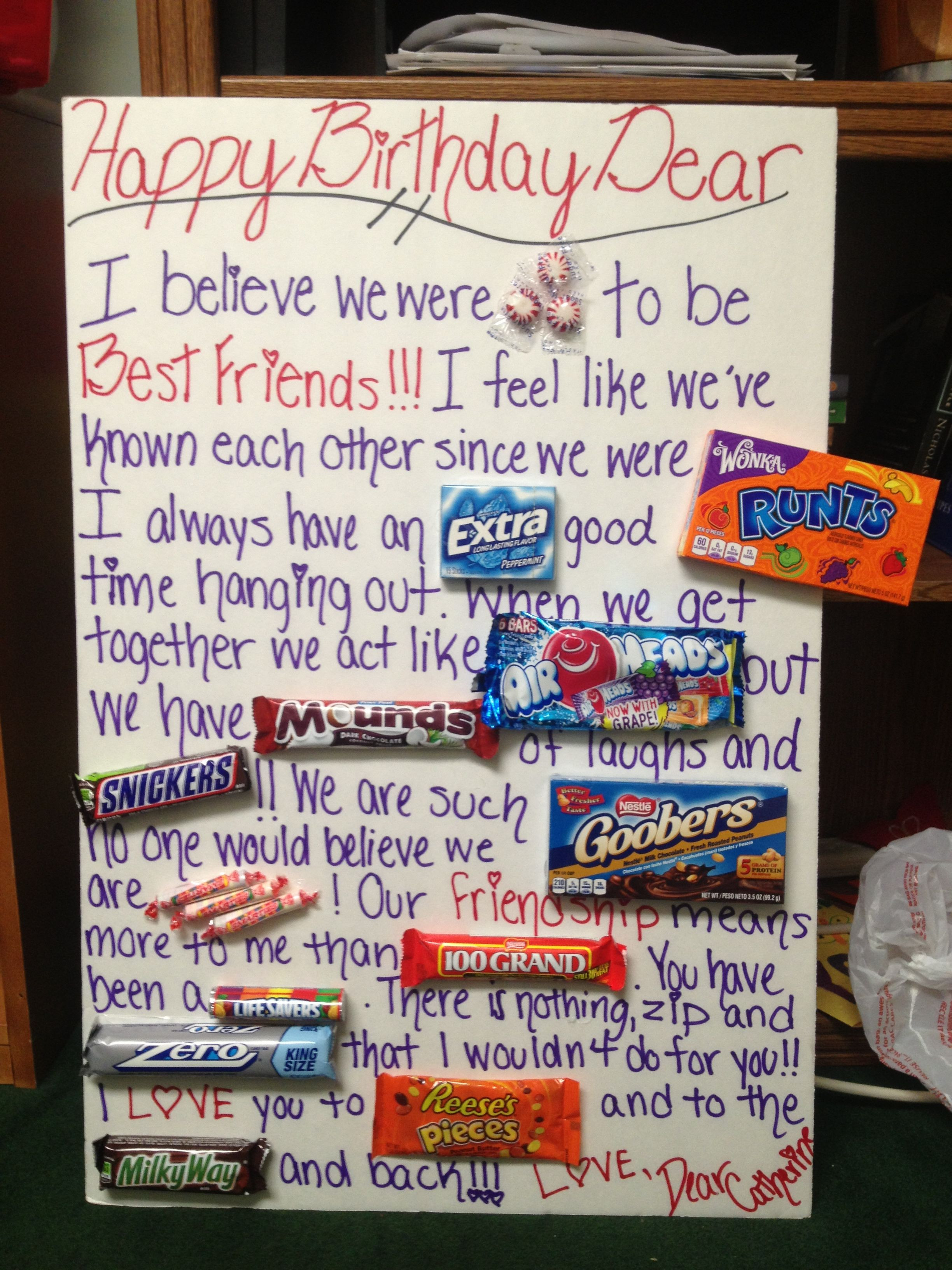 Bff Birthday Gift Ideas  Happy Birthday Card I Made for my best friend With some of