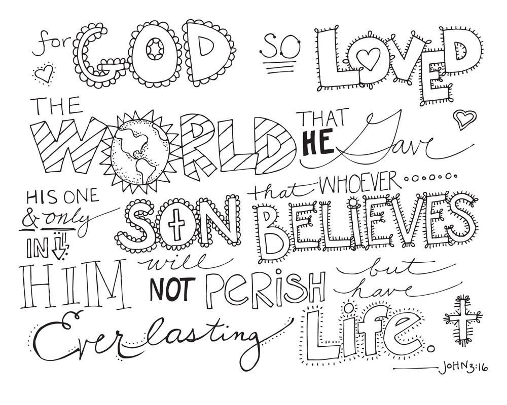 Bible Verse Coloring Sheets For Kids  7 Best of John 3 16 Coloring Printables John 3 16