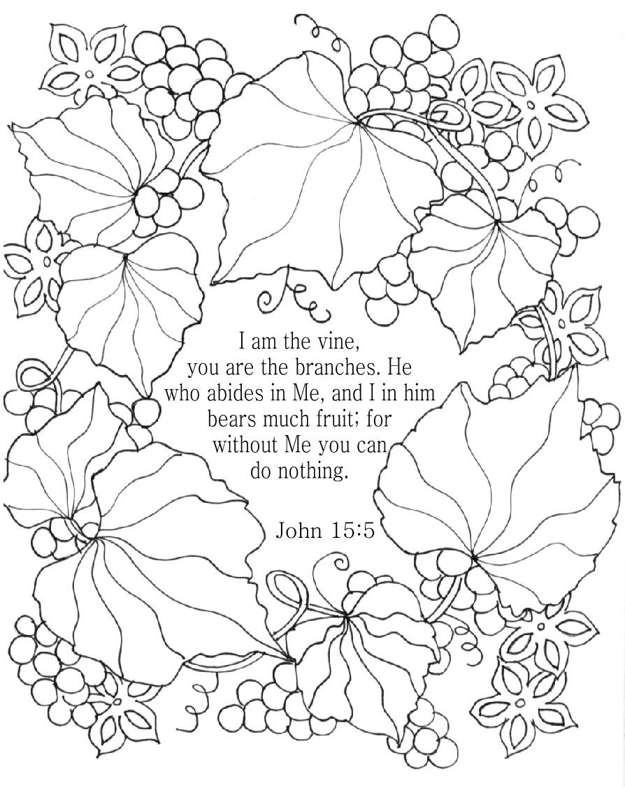 Biblical Coloring Pages For Adults  Coloring Pages Vines Gallery