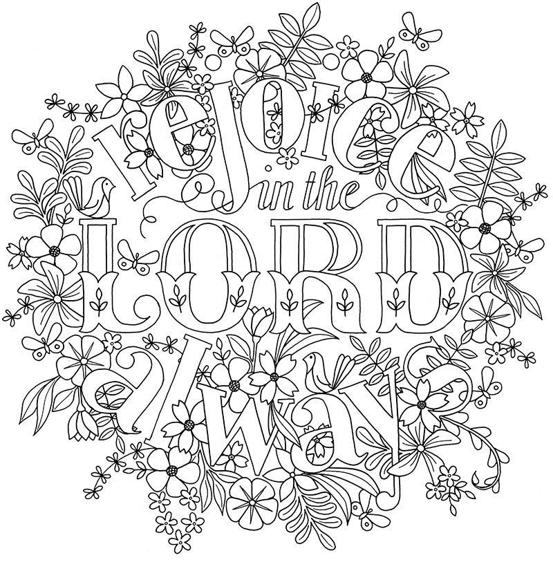 Biblical Coloring Pages For Adults  Adult Colouring Page Bible Verse Philippians 4 Instant