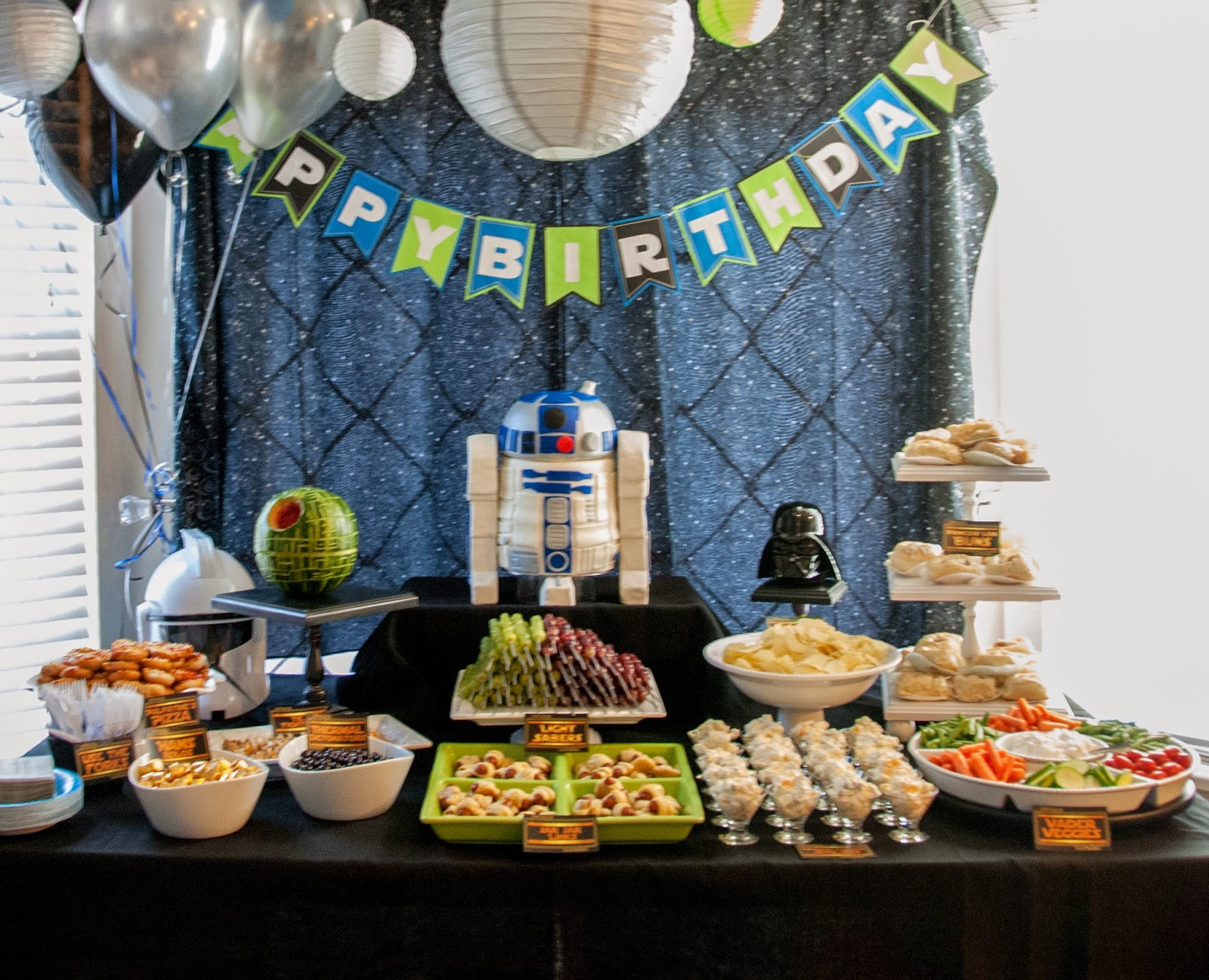 Birthday Decorations For Adults  Author Robin King Blog Star Wars Party with R2D2 Cake