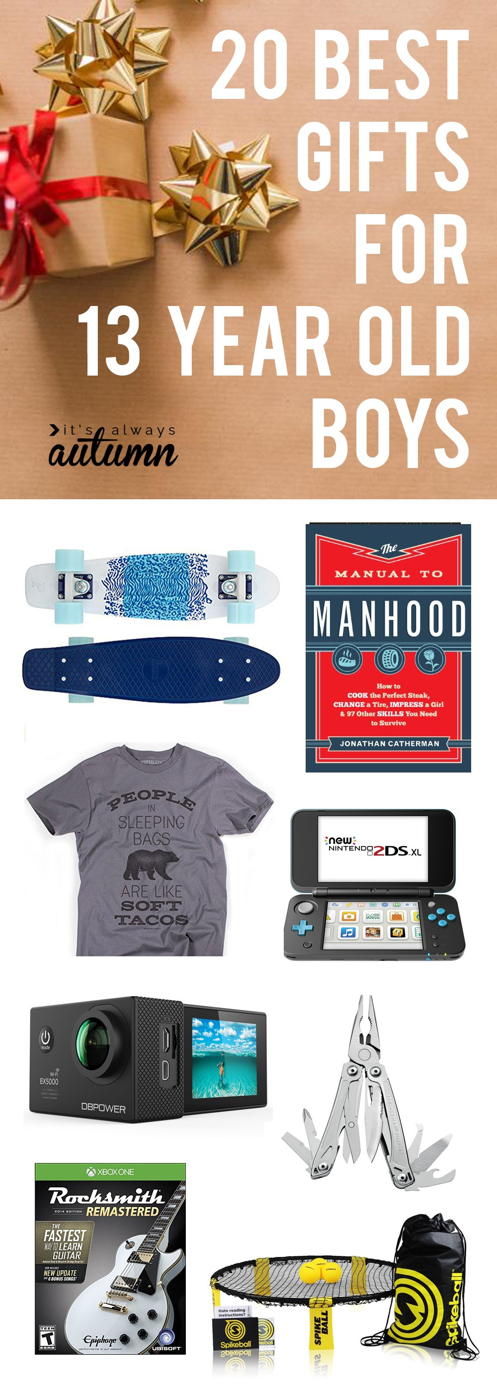 Best ideas about Birthday Gift Ideas For 12 Year Old Boy . Save or Pin Christmas Presents For 13 Year Old Boy Now.