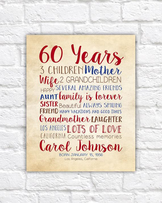 Birthday Gift Ideas For 60 Year Old Man  Birthday Gift for Mom 60th Birthday 60 Years Old Gift for