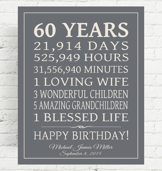 Birthday Gift Ideas For 60 Year Old Man  60th BIRTHDAY GIFT Sign Dad Birthday Gift Mom by