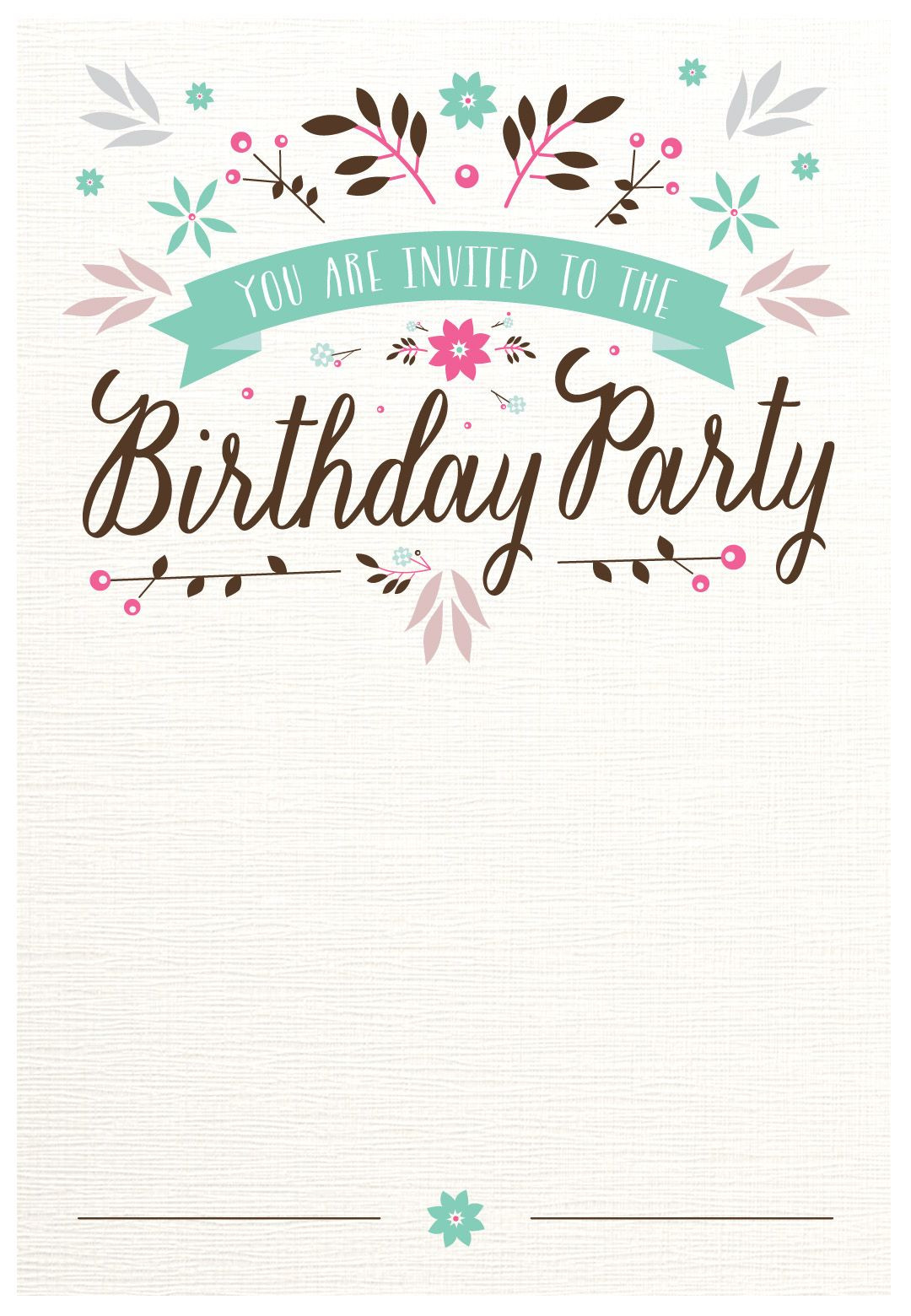 Birthday Invitations Template  Flat Floral Free Printable Birthday Invitation Template