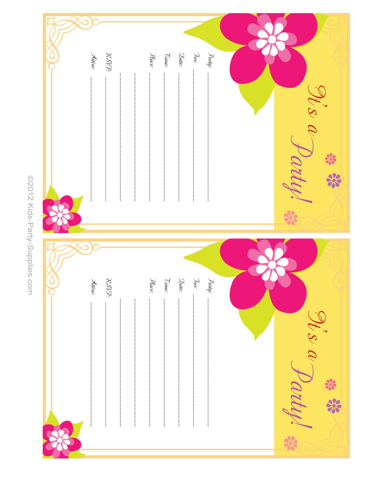 Best ideas about Birthday Party Invitations Free . Save or Pin birthday invitation card Free printable birthday Now.