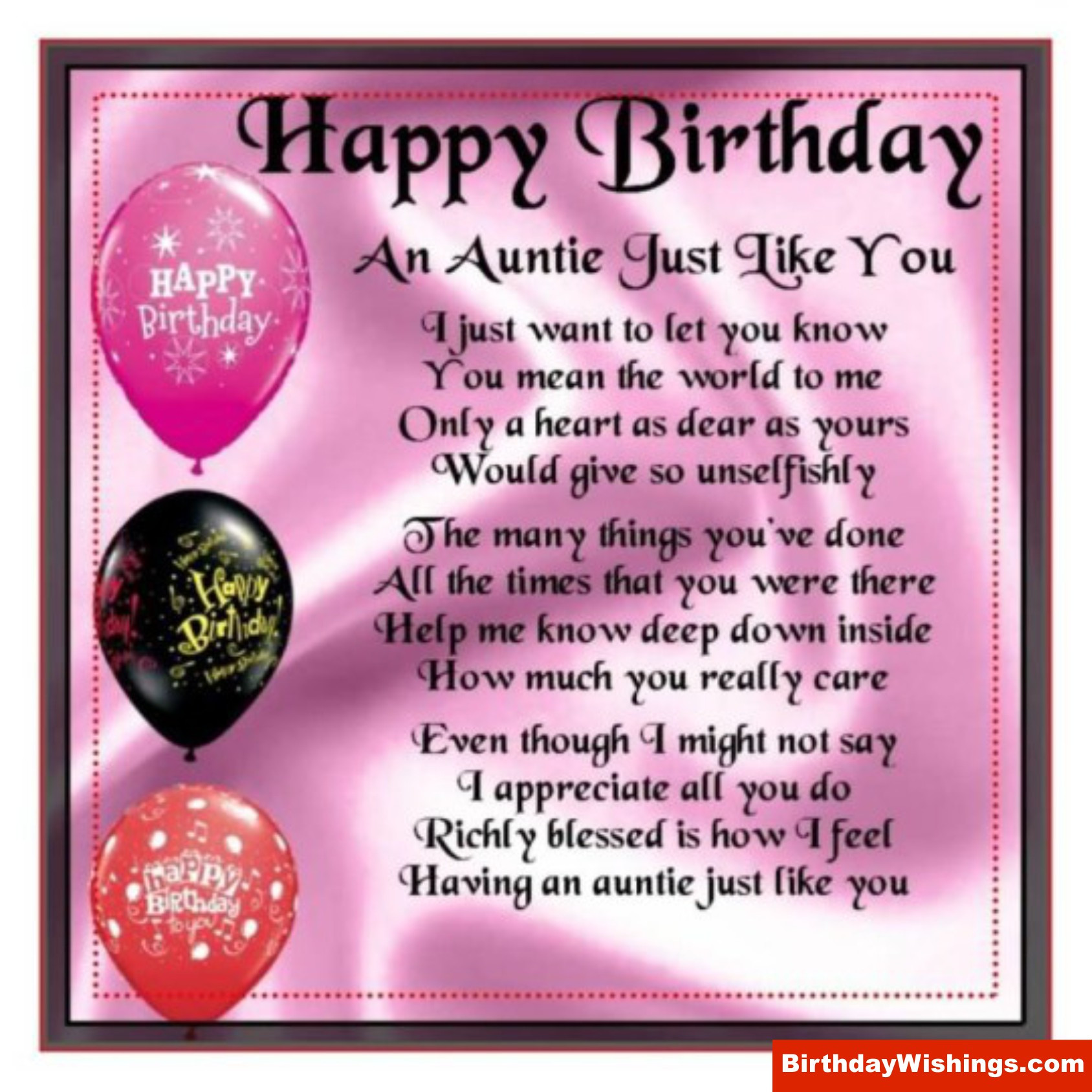 Birthday Quotes For Aunt  Wish A Happy Birthday to Your Aunt