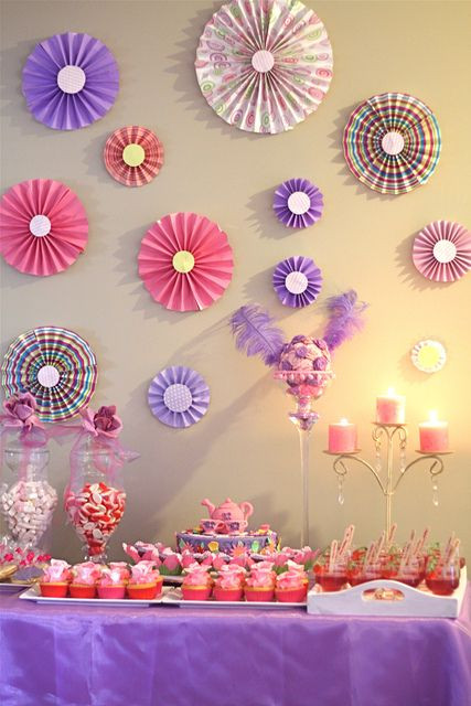"""Best ideas about Birthday Wall Decorations . Save or Pin 1 of 8 Tea Party Birthday """"Purple & Pink Tea Now."""